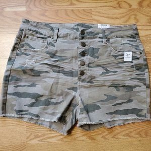 NWT TIME and TRU HIGH RISE CAMO SHORTS